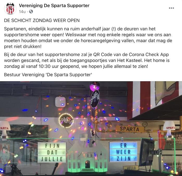 facebook bericht van de supportersvereniging